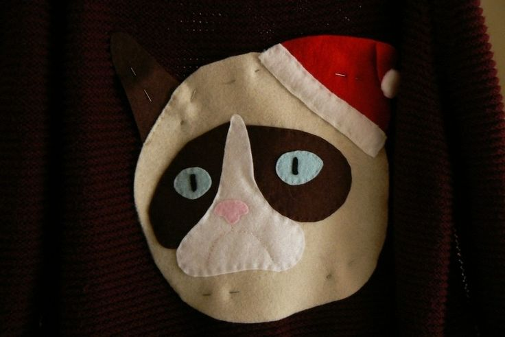 How to embellish an applique sweater. Grumpy Cat Christmas Sweater - Step 12