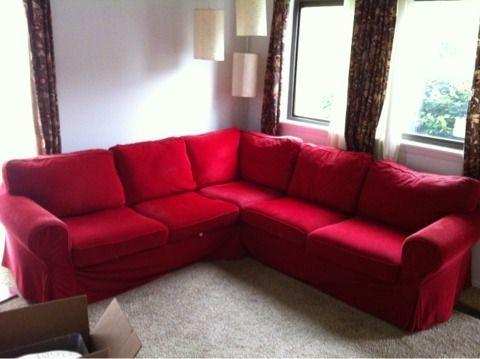 Ektorp sectional in red living room ideas pinterest for Red corner sofa