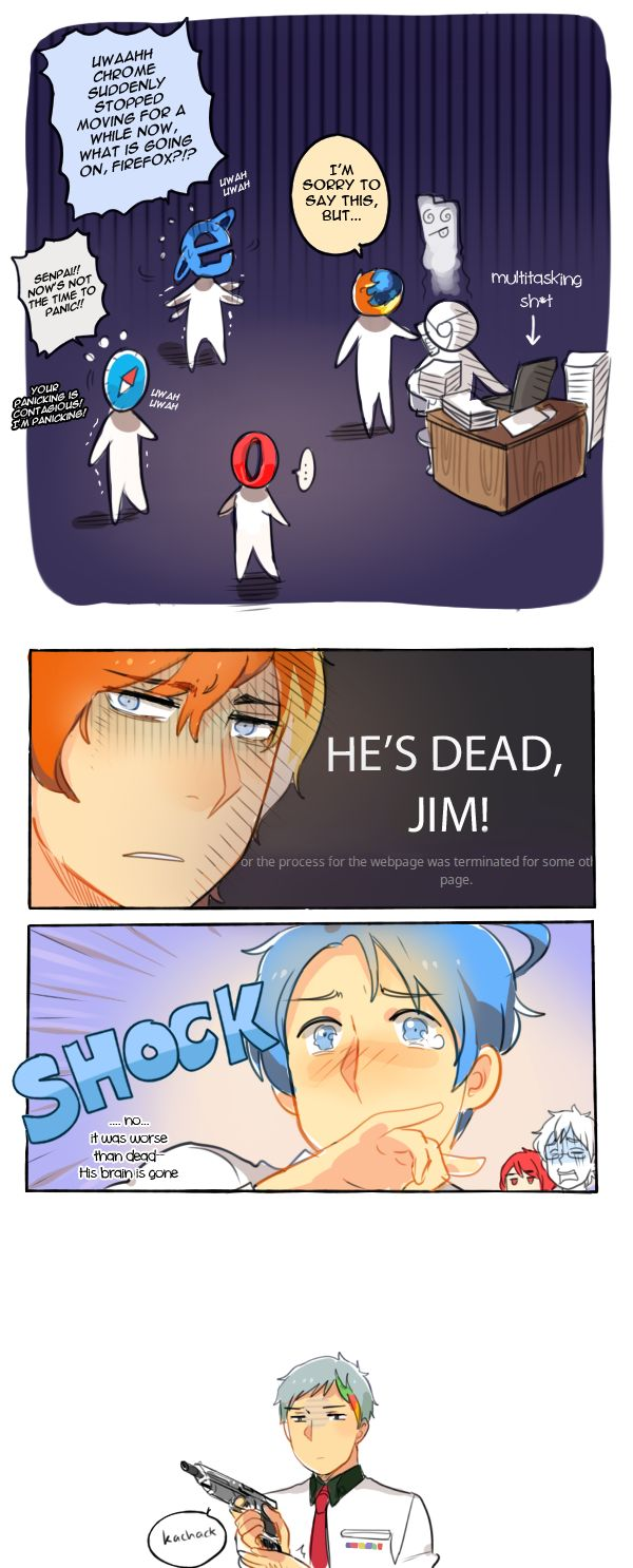 Web Browsers in Anime Style -Google Chrome, Internet Explorer, Opera, Safari, and Microsoft Firefox : He's dead, Jim !