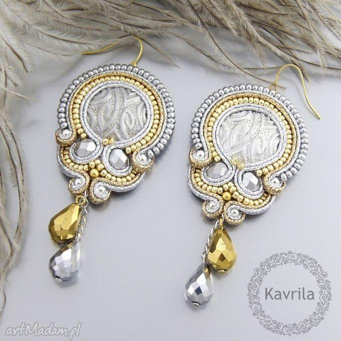 Egyptian silver soutache kolczyki kavrila sutasz hafty wieczorowe