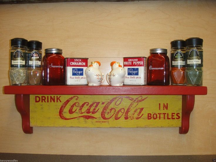 1960's RETRO wooden Coca-Cola Shelf. These shelves are truly green. The top and sides are made from reclaimed lumber from an actual Coca-Cola Bottling plant that closed down during the 1960's.