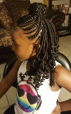 Single box braid in back with cornrows