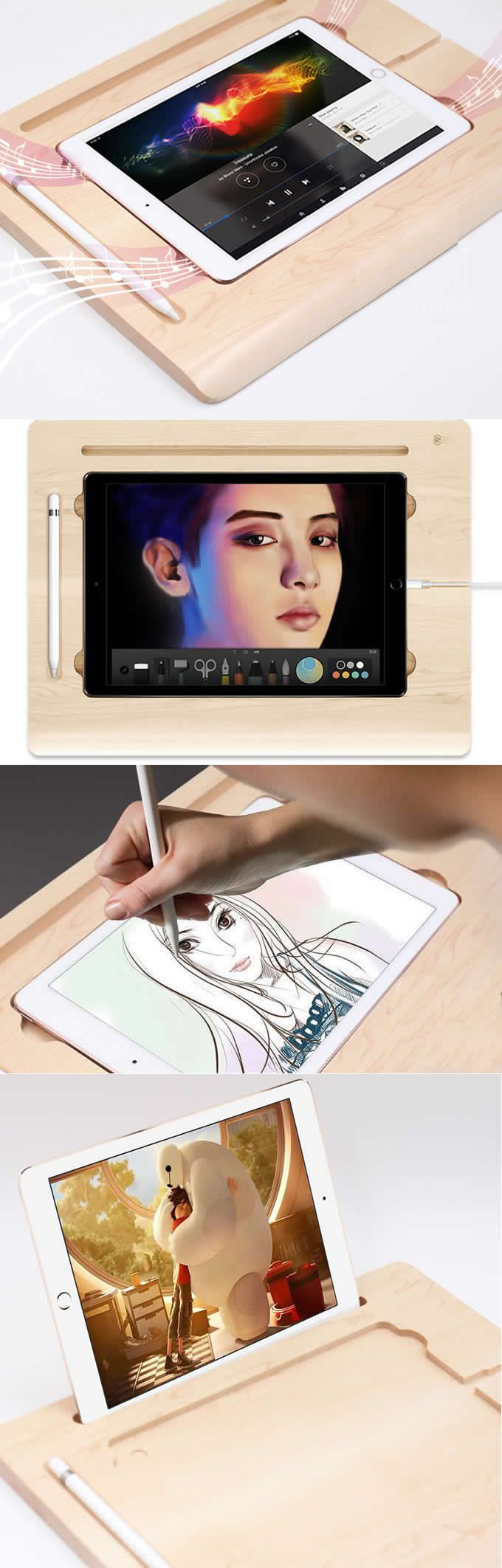 Wooden Apple  iPad Pro Mobile Lap Desk Holder Desk Canvas Smart Board Drawing Desk  Organizer  Charging Station Dock