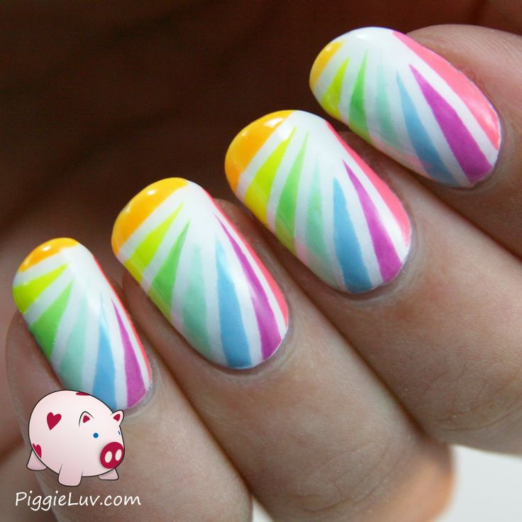 Piggieluv Rainbow Bubbles Nail Art: Neon, Nice And Striping Tape