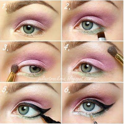 MakeupDramatics: Favorite Hair, Eye Pictorial, Skin Hair Makeup Nails Etc, Makeup Beautiful, Green Eye Shadows, Glitter Eye, Easter Makeup, Diy Makeup, Formal Hair