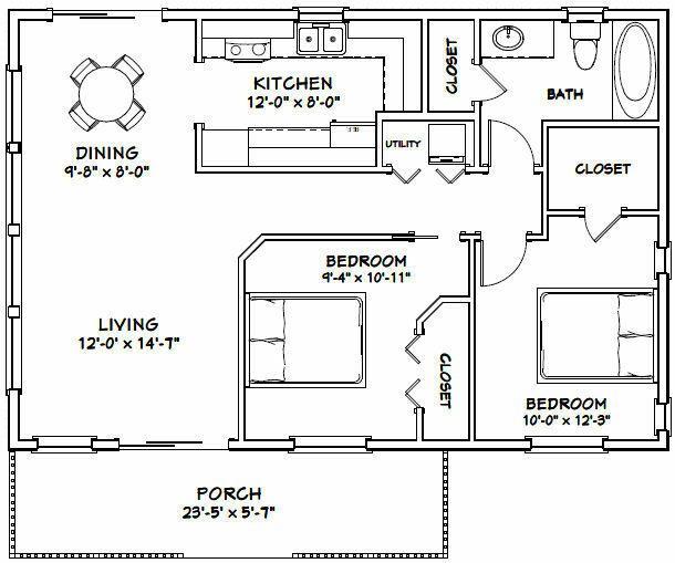 Model 2c Pdf Floor Plan 864 Sq Ft 36x24 House 2 Bedroom 1 Bath Home Improvement Building Hardware