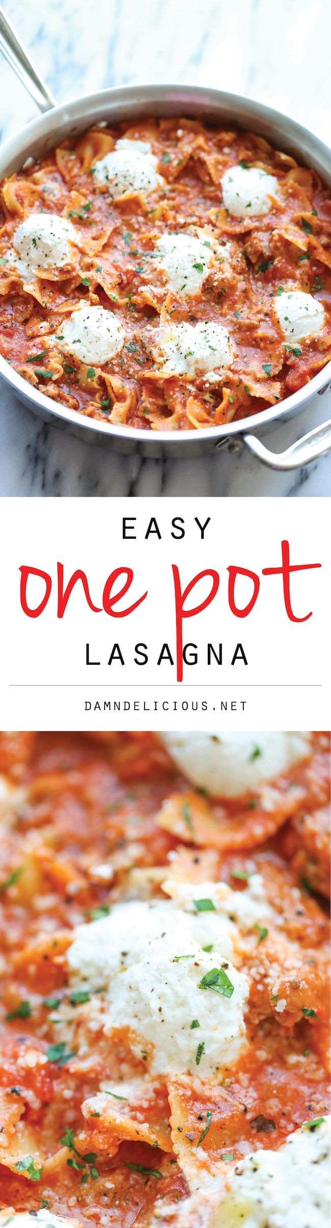 Easy One Pot Lasagna - The easiest 30-min lasagna made in a single pot - no boiling, no layering, nothing - the pasta gets cooked right in the pan! Option:  omit meat
