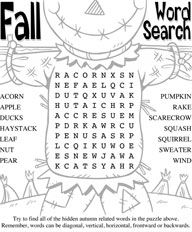 Fall Word Searches Printable | Try a printable Fall maze or word search.