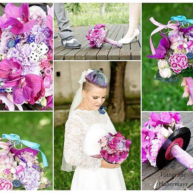 """Rockabilly Pink #rockabillywedding #pink #flowerblog #wedding #photography #hochzeitsfloristik #rockabilly #schallplatte #brautstrauss #knallfarben #weddingflowers #weddingphotography #instaflower #bridalbouquet"" by @floristgastl."