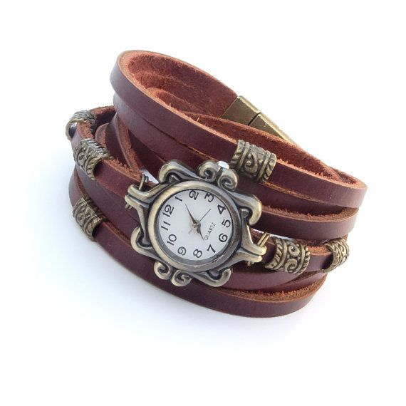 Womens leather watch bracelet, Women wrist watch, Multi strap Watch for women with magnetic clasp