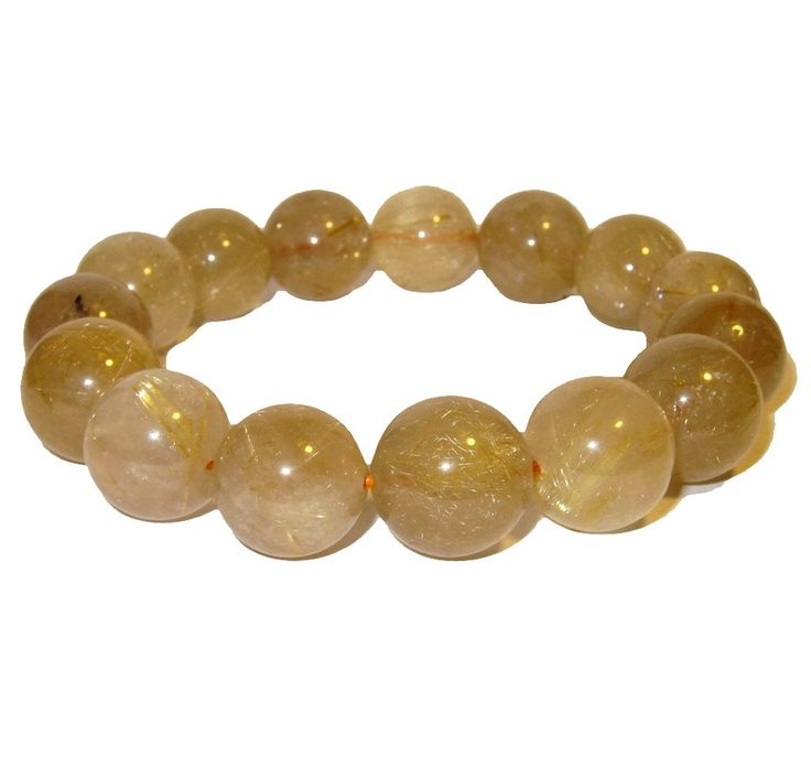 Quartz Bracelet Rutilated 15 Mm Premium Quality Round Jumbo Golden Beads Crystal Healing Stone (Gift Box)