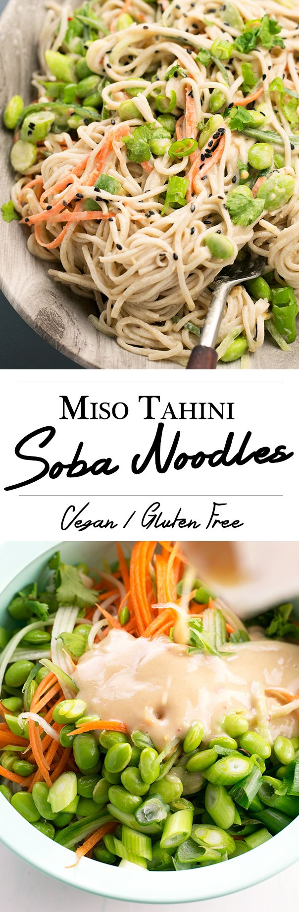 Japanese inspired Soba Noodles with edamame, carrot and cucumber - tossed in a delicious Miso Tahini Dressing. I would replace the edamame. I hate edamame.