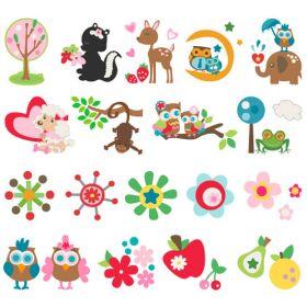 Tarjeta con formas de corte para la máquina Slice Fabriqué.  Contiene motivos de animales ( gato, mono, búhos, rana, elefante, ciervo...), flores, frutas (manzana, pera, ) etc.  Ideal para manualidades, labores de scrapbooking, tarjetería, patchwork, aplicación, camisetas, etc.