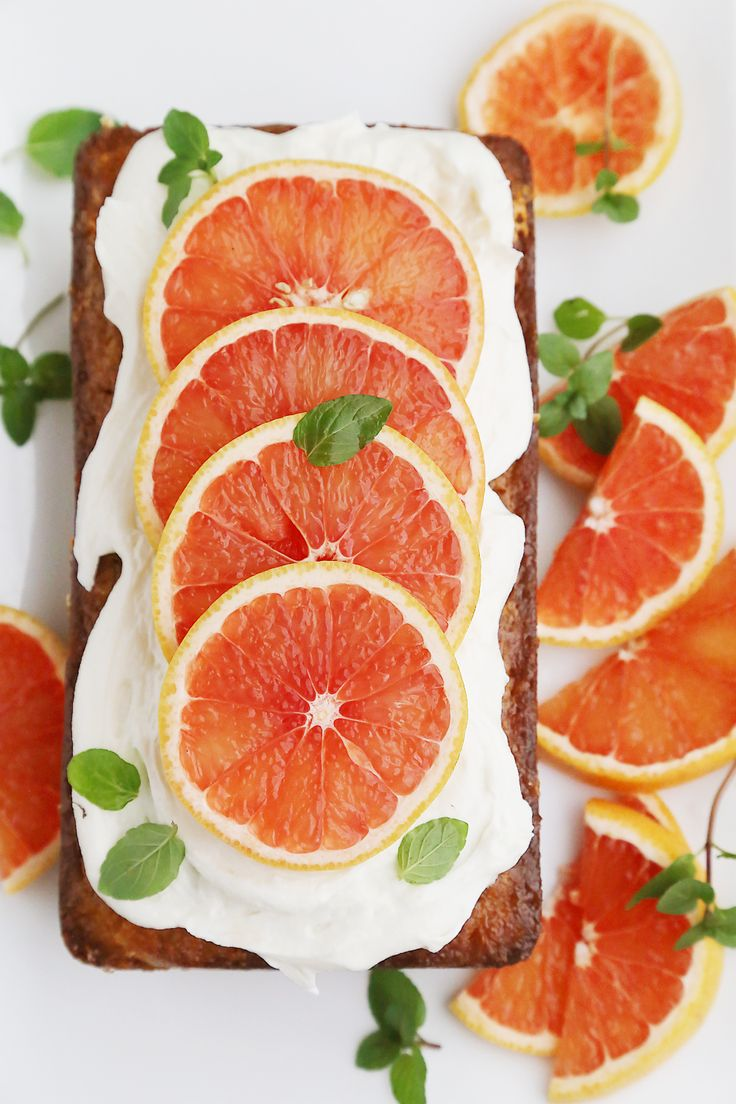 Super Moist Grapefruit Cake with Whipped Frosting, Grapefruit, and Fresh Mint