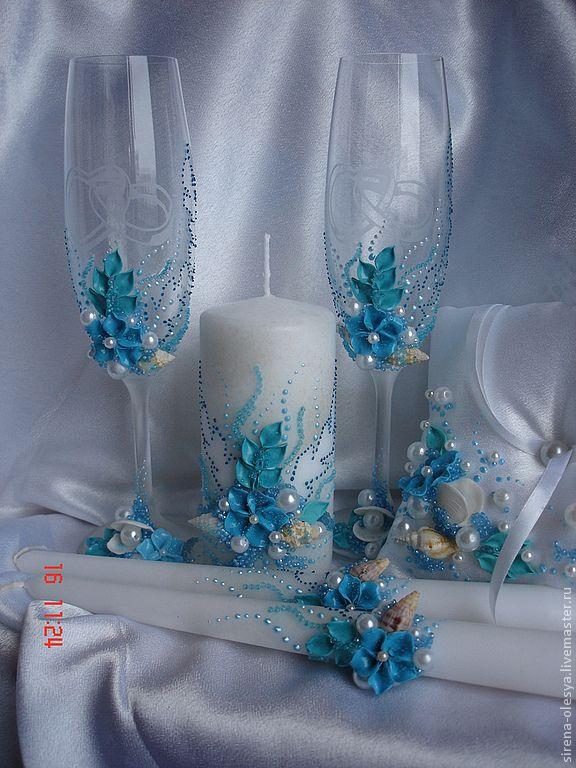 Купить Свадебный комплект морской тематики - тёмно-бирюзовый, свадебные аксессуары, свадьба, свадебные бокалы