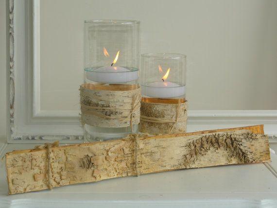 natural birch bark sheets for candle vases wedding flower pot centerpieces baskets woodwork rustic wedding garden party decor planter DIY via Etsy