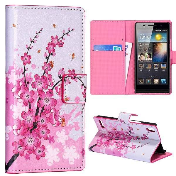 Flowers bookcase hoesje voor Huawei Ascend P6