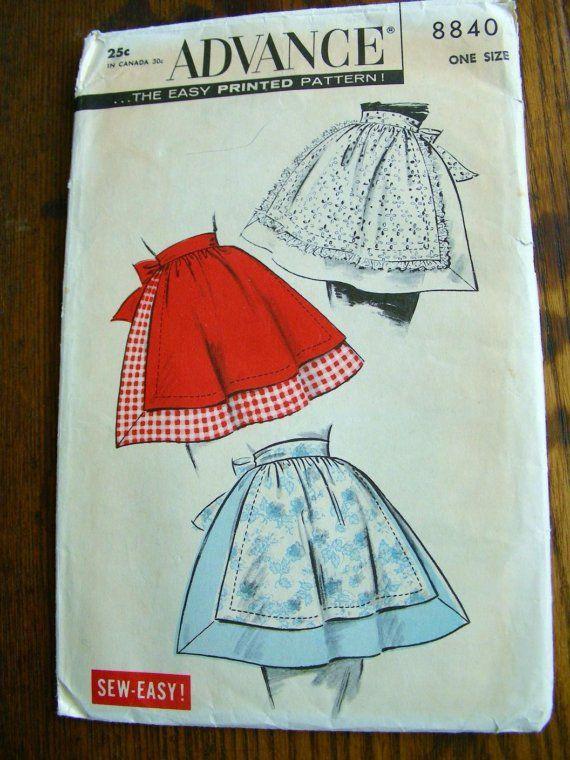 Vintage+Apron+Patterns+Free | Vintage SEW EASY Half Apron Sewing Pattern 1 size ORIGINAL uncut