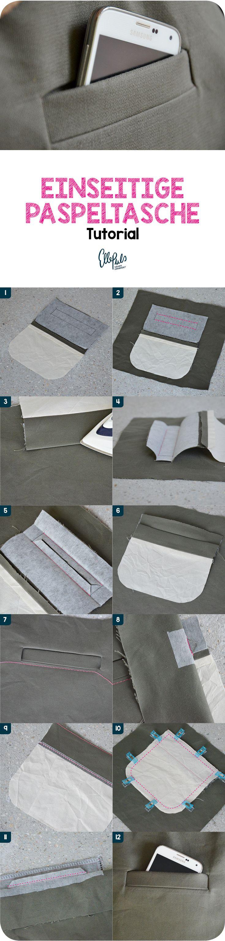 Lerne, wie du eine einseitige Paspeltasche nähen kannst um jedem Schnittmuster einen veränderten Look zu geben. Tutorial von ellepuls.com