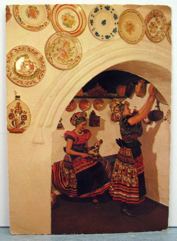 Hungarian Folk Art Postcard Mezőkövesd Matyó Traditional Costumes Ceramic Plates | eBay