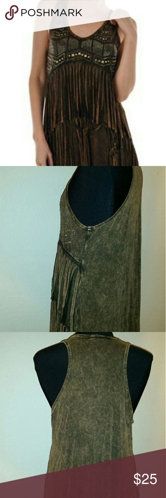 "T PARTY FRINGE TANK TOP NWT HOT HOT HOT,  Boho look, bike week or the beach, this two tone fringe tank is a must.  Measures 28"" length x 19"" chest T PARTY Tops Tank Tops"