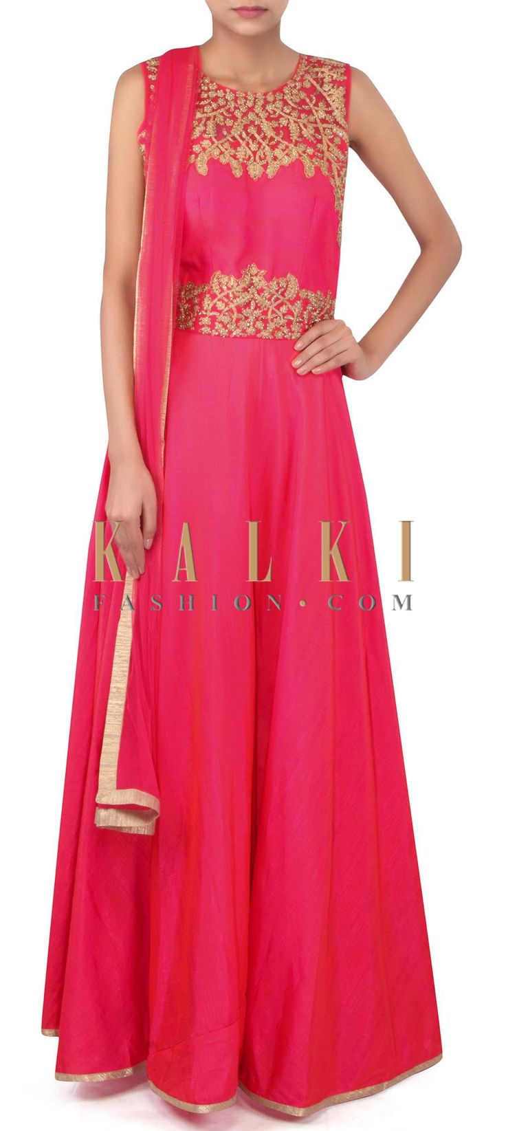 Pink anarkali suit in embroidered bodice only on Kalki