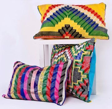 #fairtrade #recycled striking needlework cushions