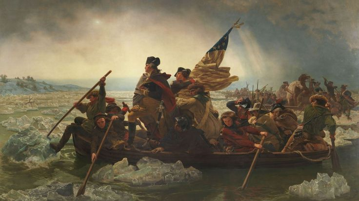 """""""Washington Crossing the Delaware"""" by Emanuel Leutze—the cardinal painting of the American Revolution."""
