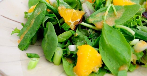 Mixed Greens with Miso Orange Dressing. Classic Asian dressing on a ...