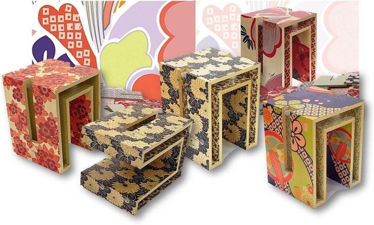 More examples of Akira Isogowa's kimono fabric inspired furniture designs.