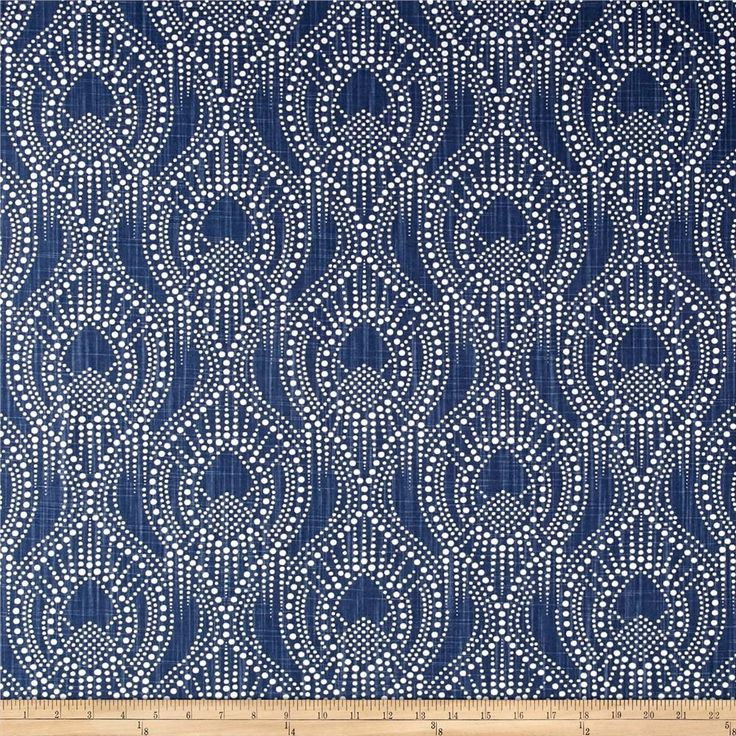 Screen printed on cotton slub duck (slub cloth has a linen appearance), this versatile medium weight fabric is perfect for window accents (draperies, valances, curtains and swags), accent pillows, duvet covers, upholstery and other home decor accents. Create handbags, tote bags, aprons and more. Colors include navy and white.
