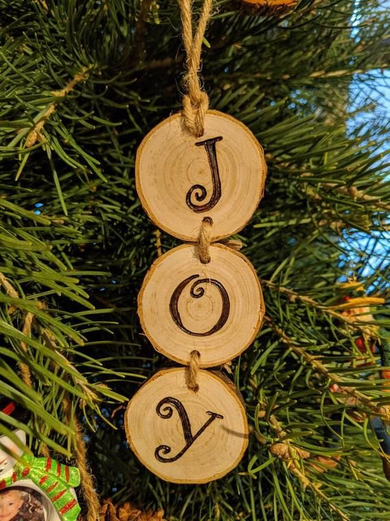 Wood Burned Joy Christmas Ornaments In 2020 Christmas Ornaments Christmas Wood Easy Christmas Diy