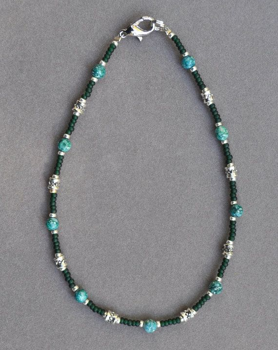 Jewelry - Anklets - Dark Green and Silver Beaded Anklet by JewelryArtByGail on Etsy
