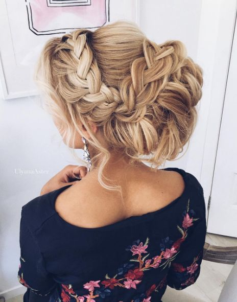 Braided Messy Updo Wedding Hairstyle