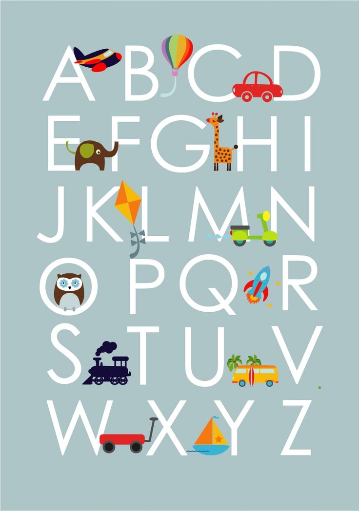 Blue alphabet art print for nursery