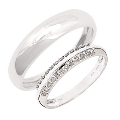 1/4 CT. T.W. Matching His and Hers Wedding Band Set 14K White Gold
