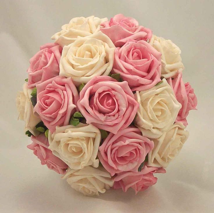 pink and cream wedding flowers   Details about PINK & CREAM ROSE POSY BOUQUET WEDDING FLOWERS BRIDAL