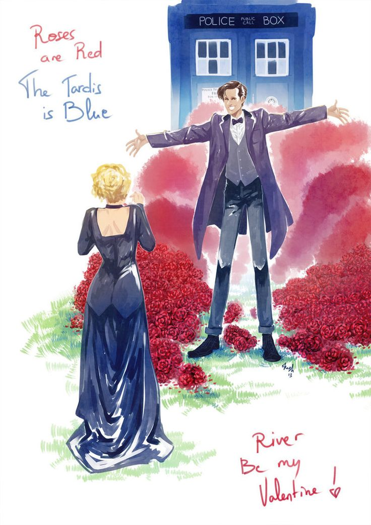 """""""Roses are Red..  The TARDIS is Blue..  I'm the Doctor..  And I love you!""""...Happy Valentine! Lots of Roses for River. -- River for Valentine by oKaShira2"""