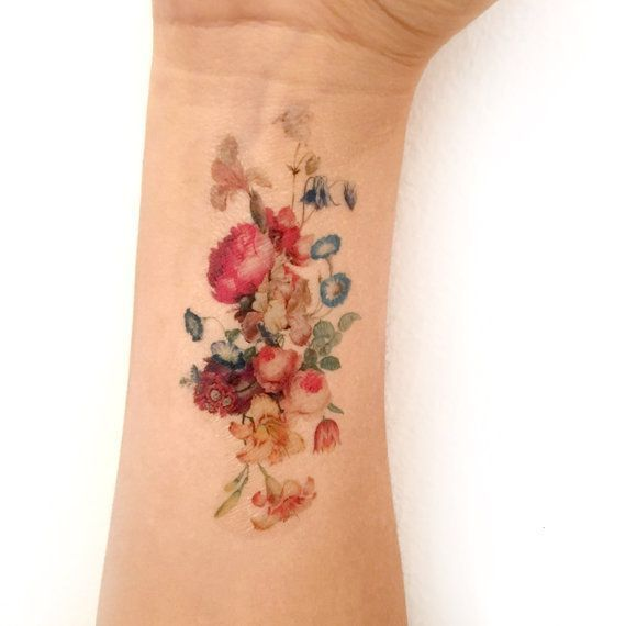 Vintage floral temporary tattoo. Fresh bouquet of flowers tattoo. Women, fashion… #Tattoos
