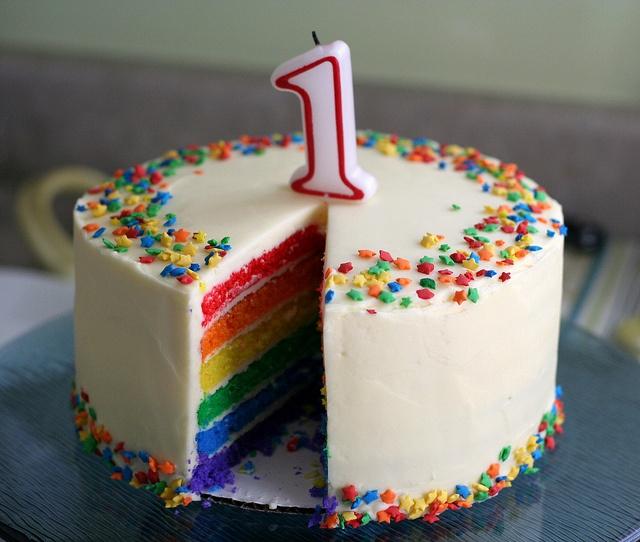 Rainbow Cake With Star Sprinkles
