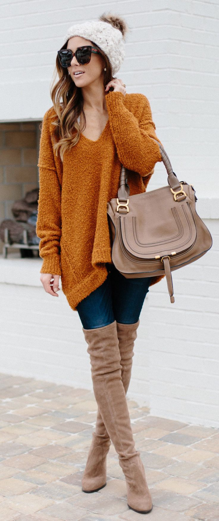 #fall #outfits women's brown v-neck sweatshirt and pair of brown thigh-high boots. Click To Shop This Look.