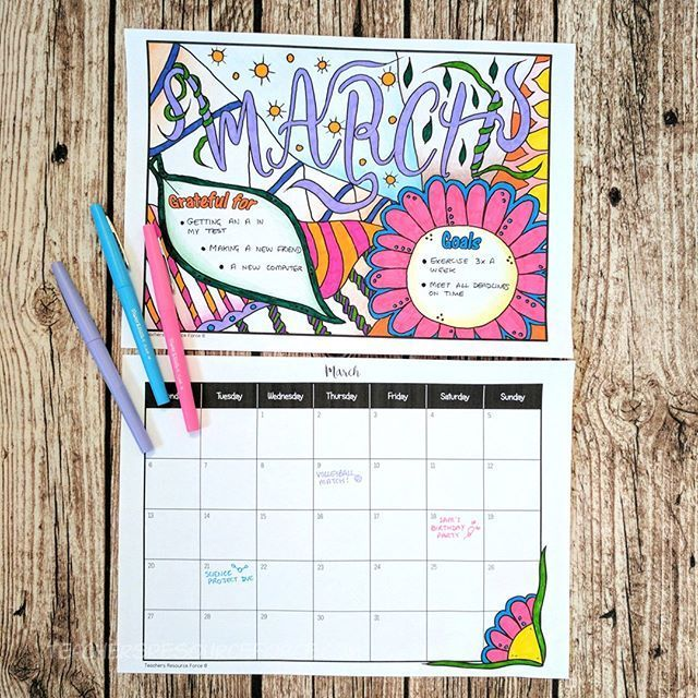 Oh heeey, I got a lil something new for you just before 2017 signs off for good - I've created this 2018 Colouring Calendar with unique monthly goals and gratitude journal included! Every month has unique hand drawn doodles (by yours truly!) so you can plan and chill!  These would make a great treat for your students to start off the new year with a growth mindset, but honestly this is perfect for us teachers too!  Let's make 2018 all about being stress free, grateful and focused! #newyear