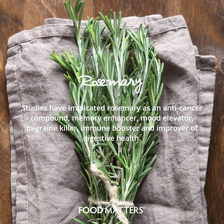 Studies have implicated rosemary as an anti-cancer compound, memory enhancer, mood elevator, migraine killer, immune booster and improver of digestive health. That, on top of the taste and smell... Do we need another argument to use this beautiful herb?  www.foodmatters.tv