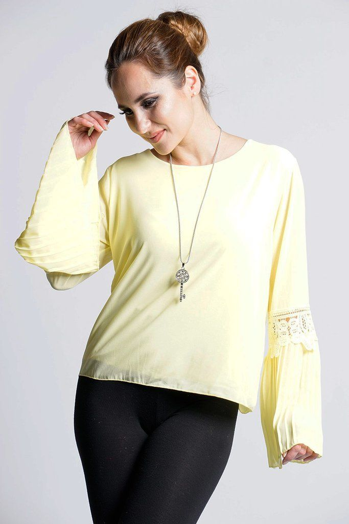 frankie chiffon bell sleeved top with necklace