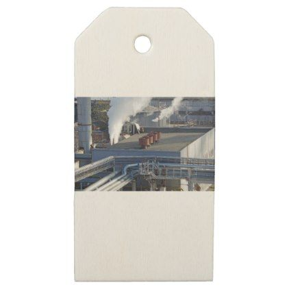 Industrial infrastructure buildings and pipeline wooden gift tags - construction business diy customize personalize