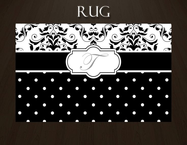 Black and White Area Rug, Black and White Damask Rug, White and Black Rugs, Black and White Polka Dot Rug, Personalized Rug, ANY COLOR #112 by EloquentInnovations on Etsy