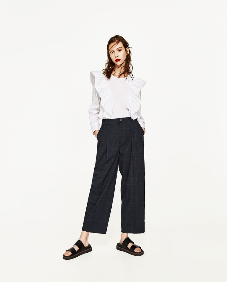 Image 1 of CHECKED TROUSERS WITH DARTS from Zara