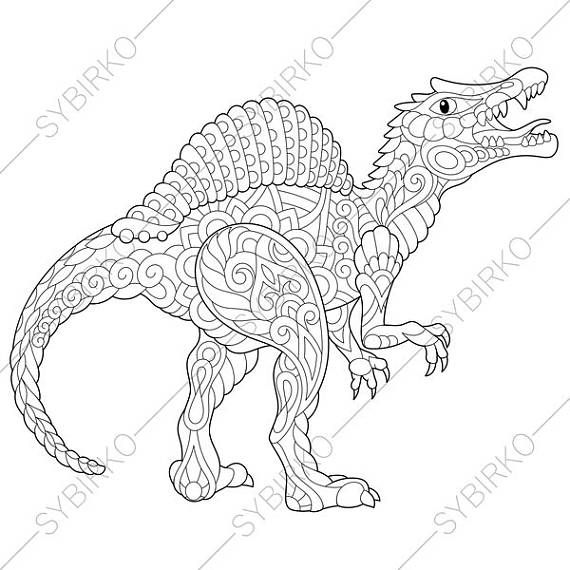 3 Coloring Pages Of Dinosaur Spinosaurus From ColoringPageExpress Shop Hand Drawn Illustrations Both For Adults And Kids Designed By Oleksandr Sybirko
