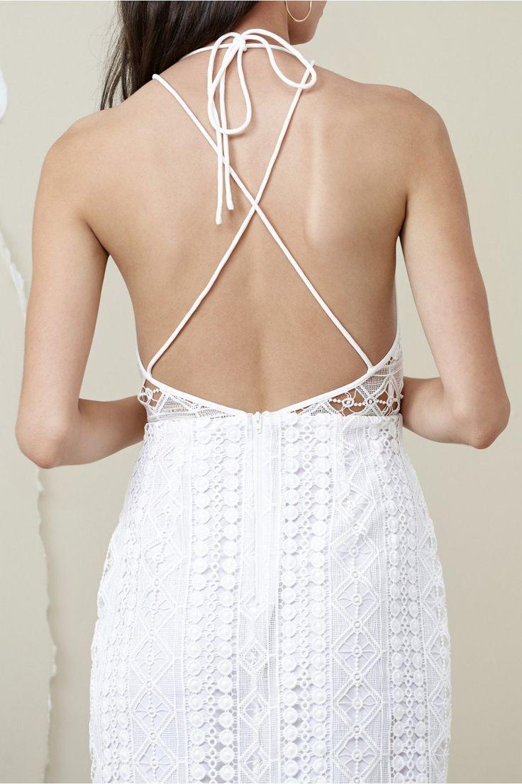 Finders Keepers Bosnia Midi Dress White   #whitedress #openback #bridal #bridalshower #summerstyle #summerfashion