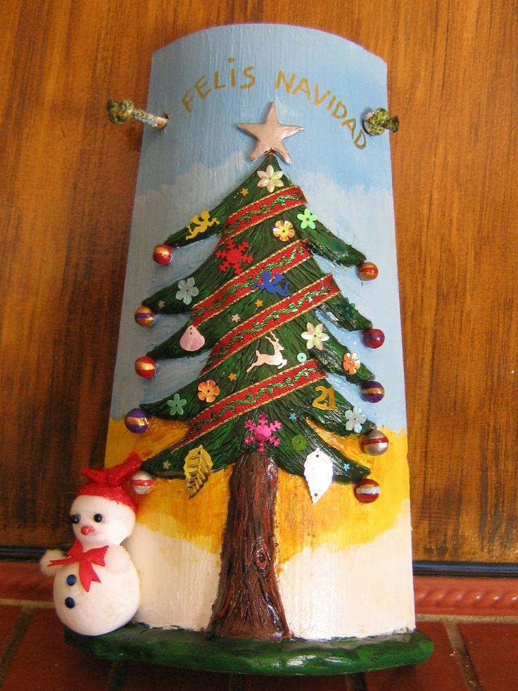 tejas con casitas navideñas decoradas en relieve - Google zoeken
